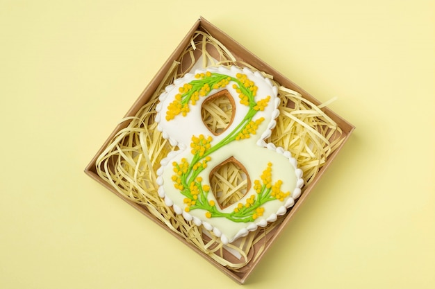 Handmade gingerbread in the shape of number eight