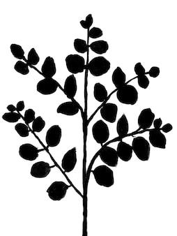 수제 손으로 그린 유칼립투스 나뭇가지 그림 흑백 최소 식물 예술 600dpi