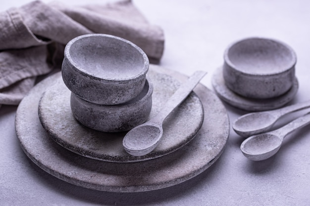 Бетонные тарелки и миски ручной работы