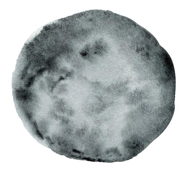 白い背景の上の灰色の水彩ラウンドスプラッシュの手作りイラスト
