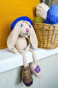 Handmade knitted children's toys, knitted hand made souvenir