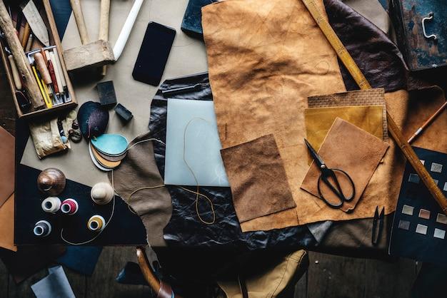Handmade leathercraft equipment on the table