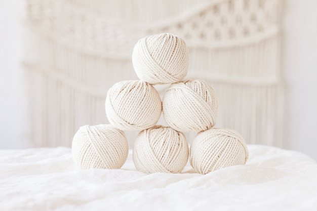 Handmade macrame braiding and cotton threads. image good for macrame and handicrafts banners and advertisement.  copy space
