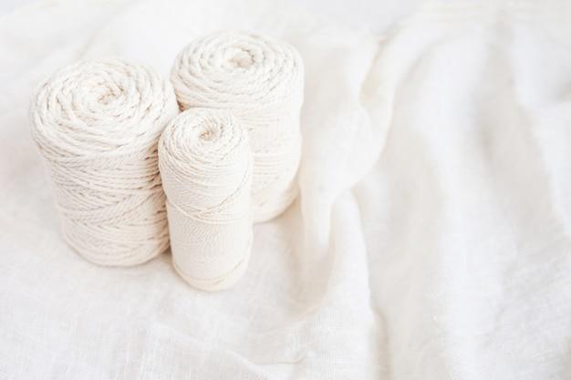 Handmade macrame braiding and cotton threads