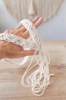 Handmade macrame dress belt. natural cotton threads.