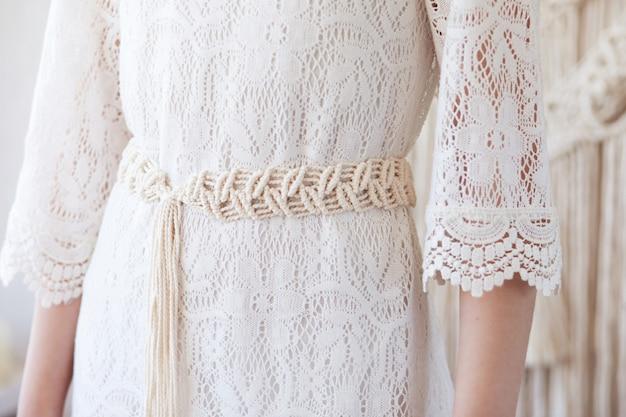 Ремень для платья ручной работы макраме.