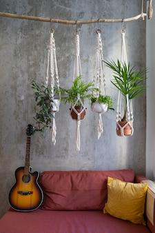 木の枝からぶら下がっている手作りのマクラメ植物ハンガー、居心地の良い家の赤いソファの上のアコースティックギター。