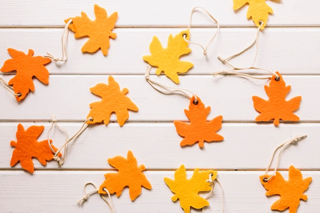 Handmade maple leaves on white background