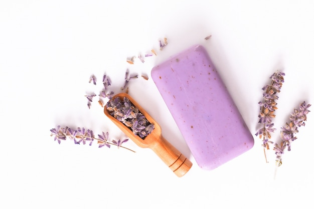 Handmade organic lavender soap with dried organic lavender