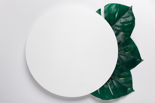 Handmade paper circle with leaves beside