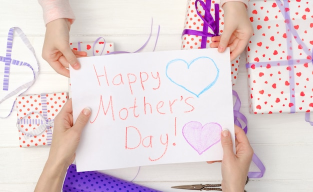 Handmade postcard for mothers day