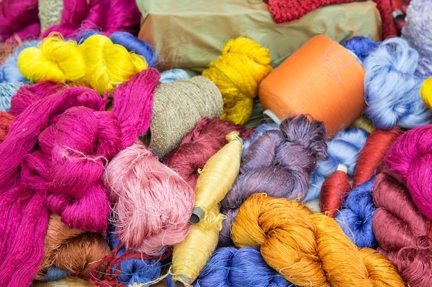 Handmade raw colorful silk thread