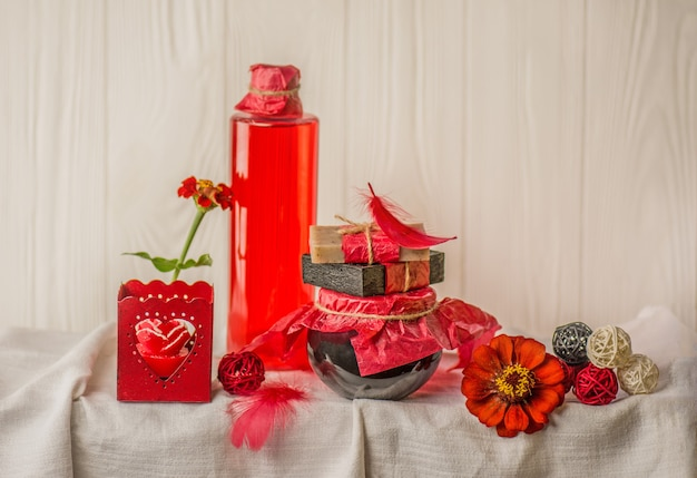 Handmade rose water for domestic holistic skin cleansing in glass jar. wellness and spa threatment products.