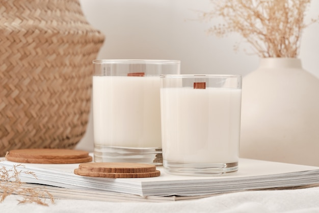Handmade scented candles in a glass with a wooden lid soy wax candles with a wooden wick