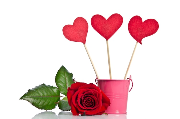 Handmade skewers with hearts and beauty red rose
