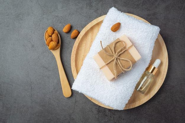Handmade soap almond on dark background
