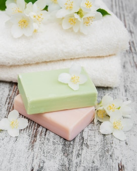 Handmade soap and jasmine flowers