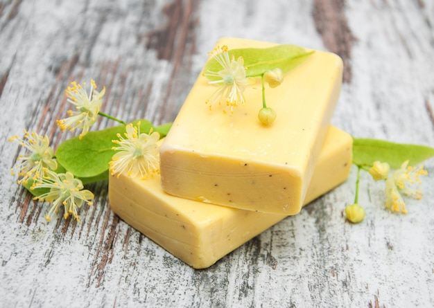 Handmade soap and linden flowers