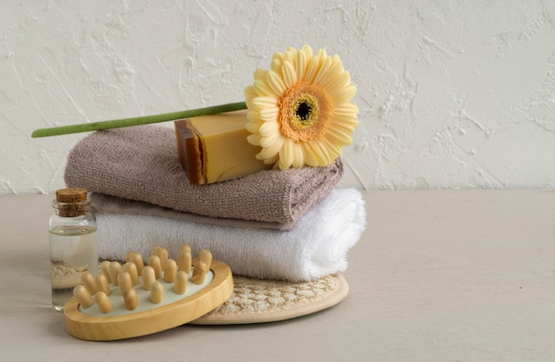 Handmade soap made from natural ingredients. on light background.