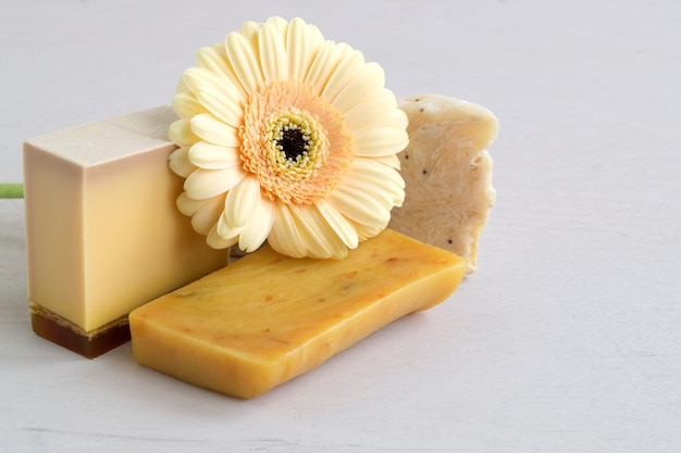 Handmade soap made from natural ingredients. on light .