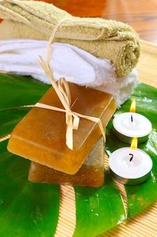 Handmade soap on monstera leaf