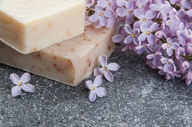 Handmade soap scrub and lilac