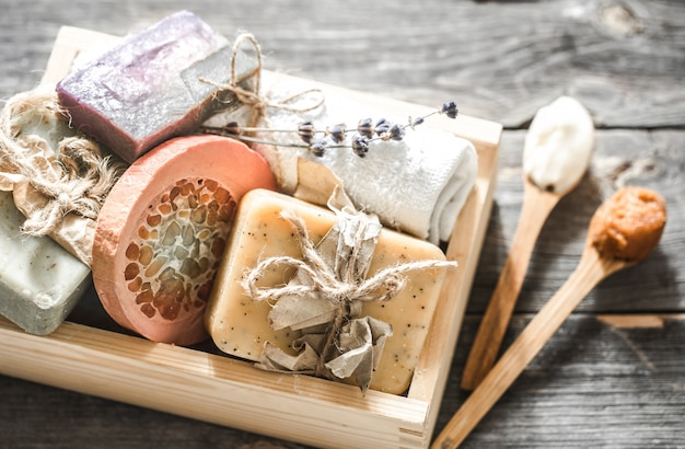 Handmade soap on wooden table