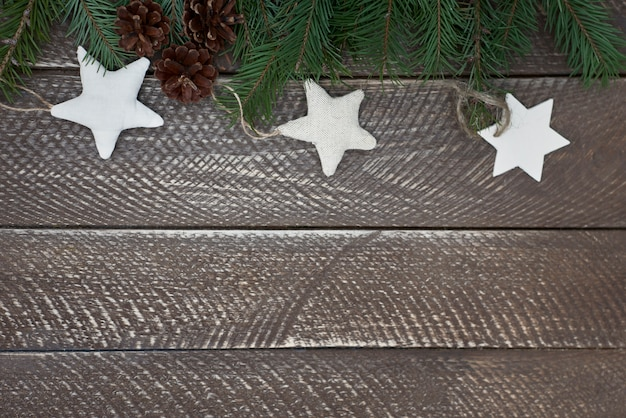 Handmade stars on wooden table