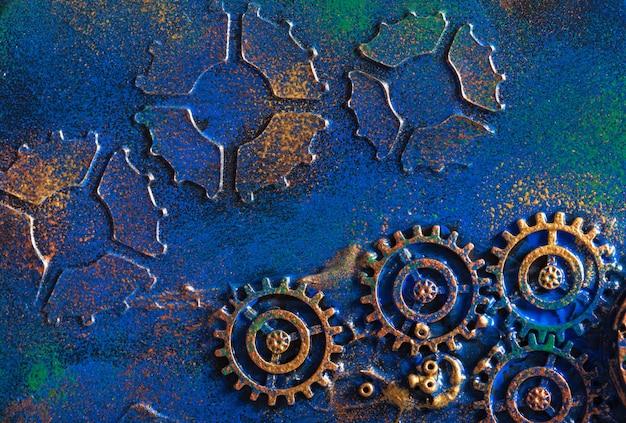 Стильная стена в стиле стимпанк с механическими зубцами и часовыми колесами