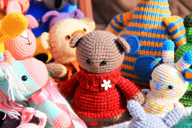 Handmade toys knitted