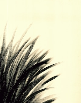 Handmade vintage hand drawn botany acrylic painting on canvas in black and white organic