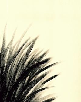 Ручная винтажная рисованная ботаника акриловая картина на холсте в черно-белом цвете organic