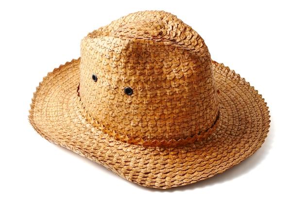 白い背景に手作り織りの帽子。