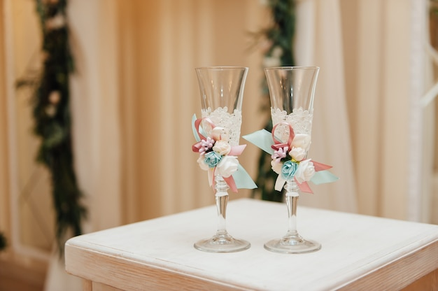 Handmade wedding glasses