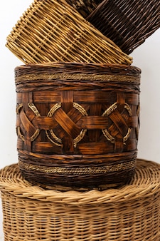 Корзины из плетеной соломы ручной работы для домашнего хранения, натуральный предмет интерьера в быту