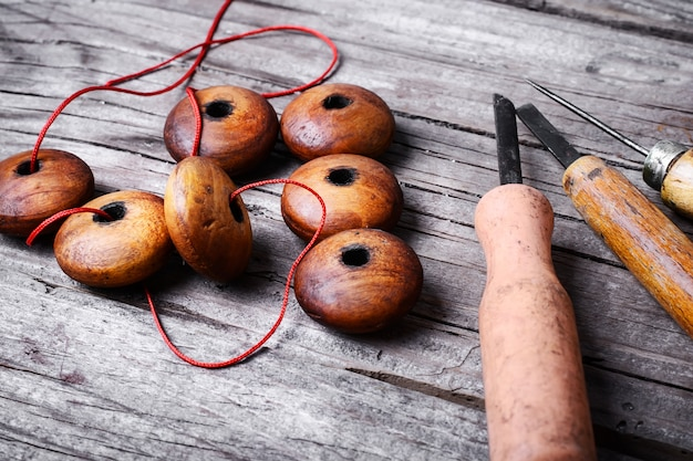 Handmade with wooden beads