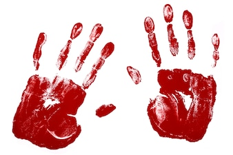 Handprints in red color