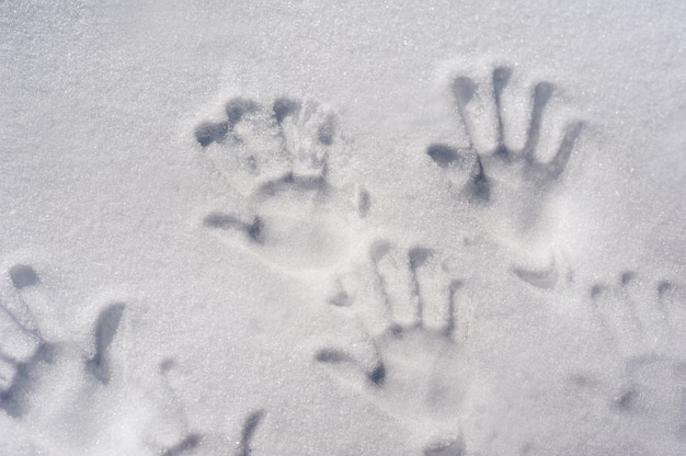 Handprints in the snow family fingerprints in the snow closeup and copy space