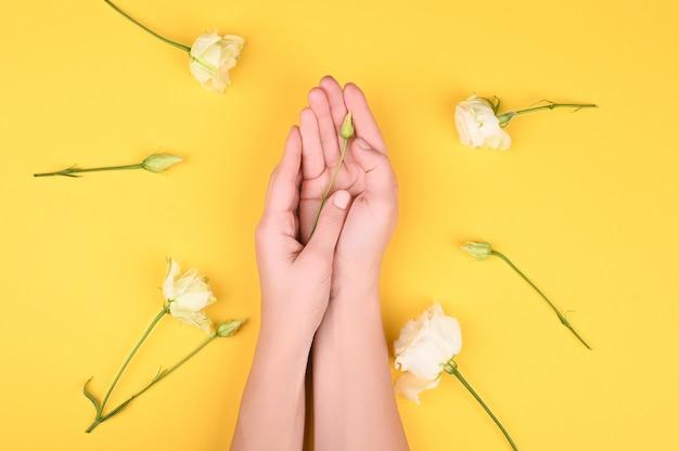 Руки и цветы на желтом фоне
