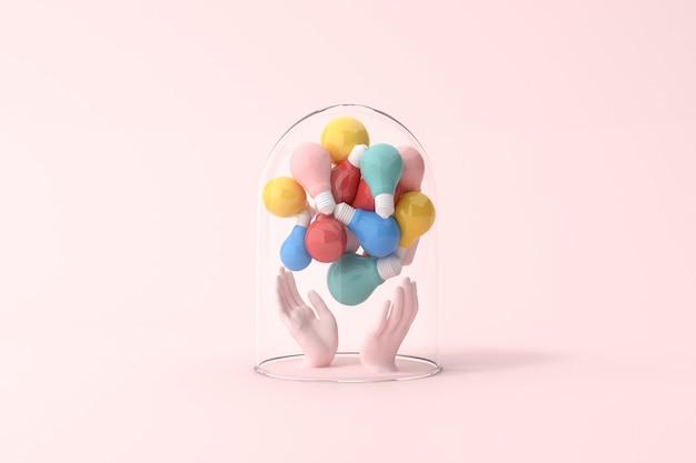 손에 유리 커버, 최소한의 개념, 3d 렌더링에 전구의 다양 한 다채로운을 들고있다.