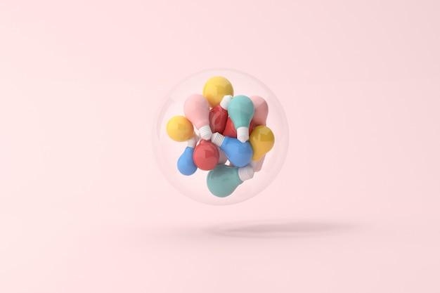 손은 유리 구, 최소한의 개념, 3d 렌더링에 전구의 다양 한 다채로운을 들고있다.
