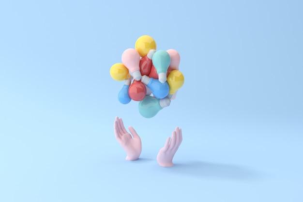 손에 전구, 최소한의 개념, 3d 렌더링의 다양 한 다채로운을 들고있다.