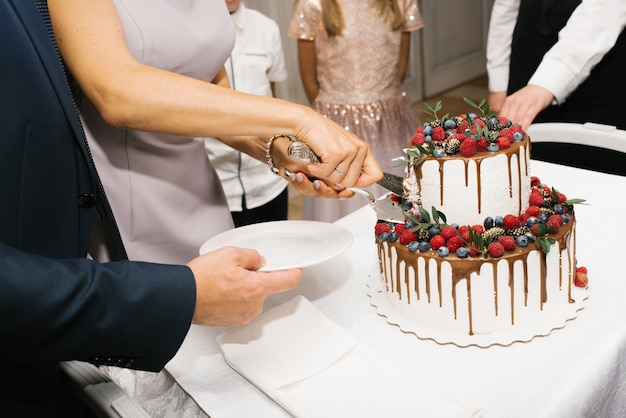 Hands of bride and groom cutting wedding cake
