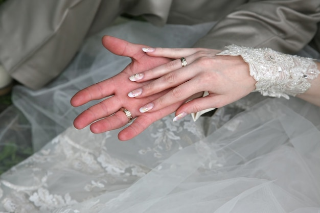 Hands of the bride and groom together