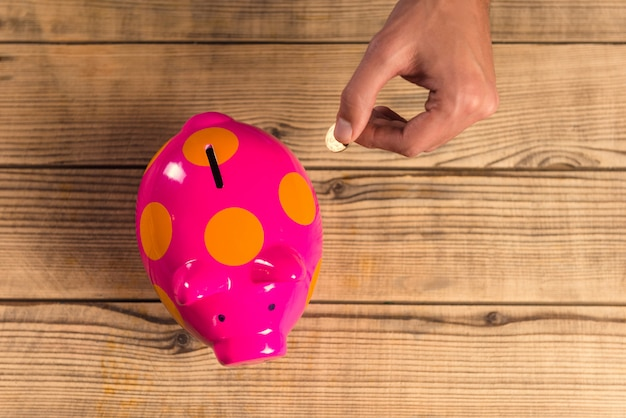 Hands close up putting a coin into a pink pig.