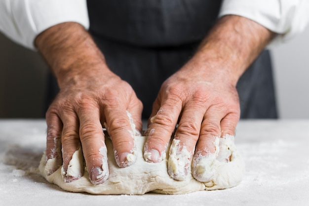 Hands filled with dough for bread