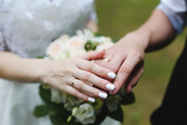 Hands of groom and bride with rings