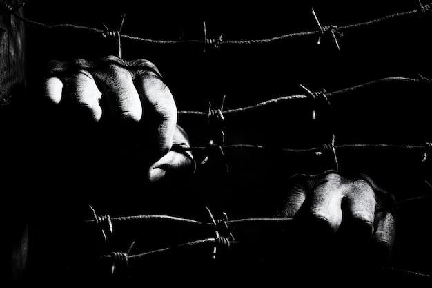 Руки держат колючую проволоку в темноте ночи, освещенной светом тюремных фонарей