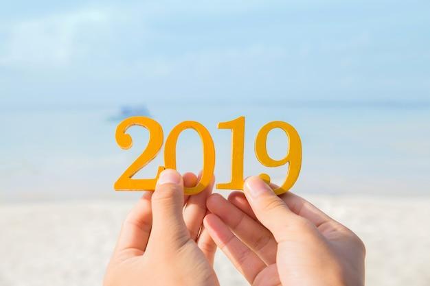 바다 배경으로 2019 나무 수를 잡고 손입니다. 새해 복 많이 받으세요.