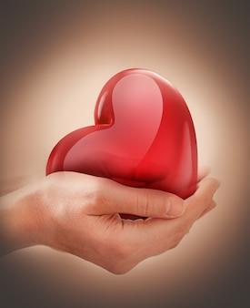 손을 잡고 광고 붉은 마음 건강 관리의 개념적 이미지 낭만적 인 디자인 기부의 날 사기.